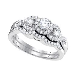 0.63 CTW Diamond Bridal Wedding Engagement Ring 10KT White Gold - REF-67F4N