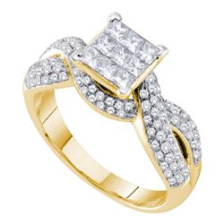 0.99 CTW Princess Diamond Cluster Bridal Engagement Ring 14KT Yellow Gold - REF-104F9N