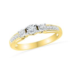 0.20 CTW Diamond Bridal Wedding Engagement Anniversary Ring 10KT Yellow Gold - REF-24N2F
