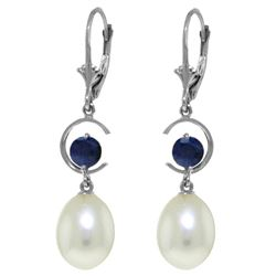 Genuine 9 ctw Pearl & Sapphire Earrings Jewelry 14KT White Gold - REF-39X4M