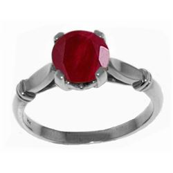 Genuine 2 ctw Ruby Ring Jewelry 14KT White Gold - REF-58Z3N