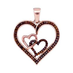 0.25 CTW Red Color Diamond Heart Love Pendant 10KT Rose Gold - REF-30N2F