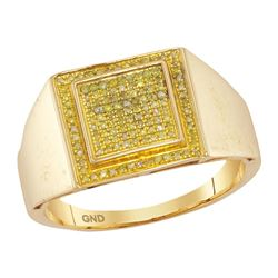 0.26 CTW Mens Yellow Color Diamond Square Cluster Ring 10KT Yellow Gold - REF-30M2H