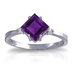 Genuine 1.77 ctw Amethyst & Diamond Ring Jewelry 14KT White Gold - REF-28R8P