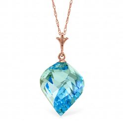Genuine 13.9 ctw Blue Topaz Necklace Jewelry 14KT Rose Gold - REF-41P3H