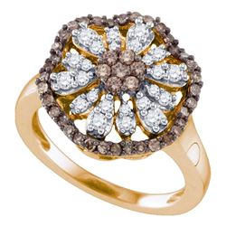 0.70 CTW Cognac-brown Color Diamond Flower Cluster Ring 10KT Rose Gold - REF-57Y2X