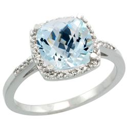 Natural 3.92 ctw Aquamarine & Diamond Engagement Ring 10K White Gold - REF-49A7V
