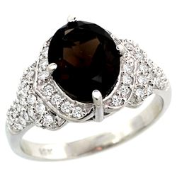 Natural 2.92 ctw smoky-topaz & Diamond Engagement Ring 14K White Gold - REF-102W7K
