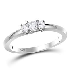 0.26 CTW Princess Diamond 3-stone Certified Bridal Ring 14KT White Gold - REF-30X2Y