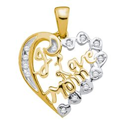 0.12 CTW Diamond I Love Mom Mother Heart Pendant 10KT Yellow Gold - REF-12Y2X