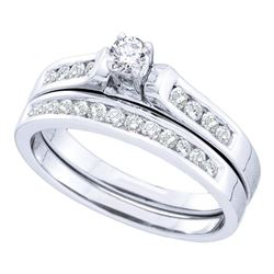 0.50 CTW Diamond Bridal Wedding Engagement Ring 14KT White Gold - REF-59W9K