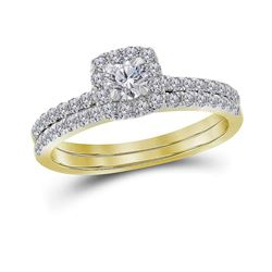 0.75 CTW Diamond Halo Bridal Engagement Ring 14KT Yellow Gold - REF-89W9K