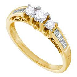 0.50 CTW Diamond 3-stone Bridal Engagement Ring 14KT Yellow Gold - REF-59N9F