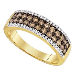 0.80 CTW Cognac-brown Color Diamond 2-row Ring 14KT Yellow Gold - REF-52M4H