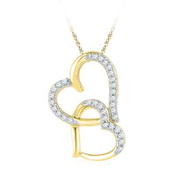 0.10 CTW Diamond Linked Double Heart Pendant 10KT Yellow Gold - REF-8X9Y