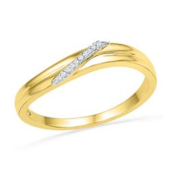 0.03 CTW Diamond Simple Single Row Ring 10KT Yellow Gold - REF-10H5M