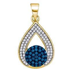 0.33 CTW Blue Color Diamond Teardrop Cluster Pendant 10KT Yellow Gold - REF-22W4K