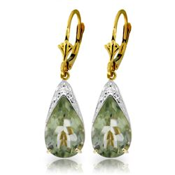Genuine 10 ctw Green Amethyst Earrings Jewelry 14KT Yellow Gold - REF-55Y5F