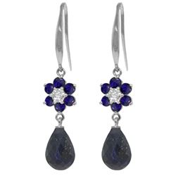 Genuine 7.61 ctw Sapphire & Diamond Earrings Jewelry 14KT White Gold - REF-49W8Y