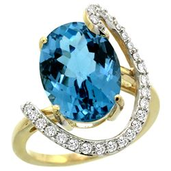 Natural 5.89 ctw London-blue-topaz & Diamond Engagement Ring 14K Yellow Gold - REF-93Y6X