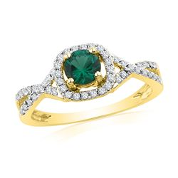 0.70 CTW Created Emerald Solitaire Diamond Ring 10KT Yellow Gold - REF-22Y4X