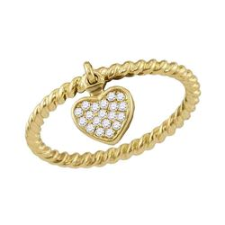 0.11 CTW Diamond Heart Dangle Rope Stackable Ring 10KT Yellow Gold - REF-18W2K