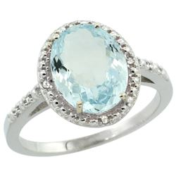 Natural 2.12 ctw Aquamarine & Diamond Engagement Ring 14K White Gold - REF-44V7F