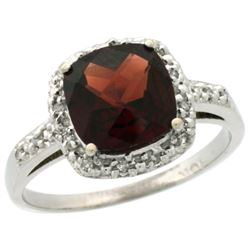 Natural 3.92 ctw Garnet & Diamond Engagement Ring 14K White Gold - REF-36R7Z