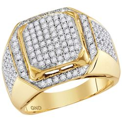 1.5 CTW Mens Diamond Square Cluster Ring 10KT Yellow Gold - REF-124F4N