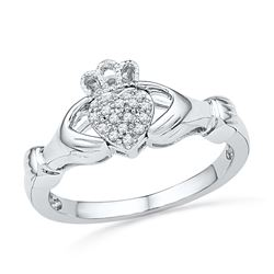 0.06 CTW Diamond Claddagh Hands & Heart Cluster Ring 10KT White Gold - REF-19F4N
