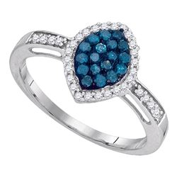 0.31 CTW Blue Color Diamond Oval Cluster Ring 10KT White Gold - REF-19K4W