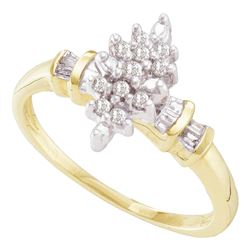 0.15 CTW Prong-set Diamond Cluster Ring 10KT Yellow Gold - REF-18F2N