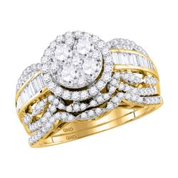 1.45 CTW Diamond Cluster Halo Bridal Engagement Ring 14KT Yellow Gold - REF-149Y9X