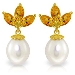 Genuine 9.5 ctw Citrine & Pearl Earrings Jewelry 14KT Yellow Gold - REF-31T2A