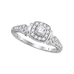 0.50 CTW Diamond Halo Bridal Engagement Ring 10KT White Gold - REF-52Y4X