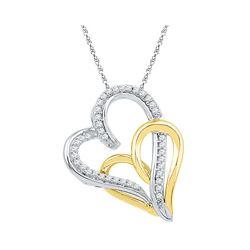 0.16 CTW Diamond Double Joined Hearts Pendant 10KT Two-tone Gold - REF-14W9K
