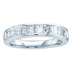 0.50 CTW Princess Channel-set Diamond Single Row Ring 14KT White Gold - REF-47H9M