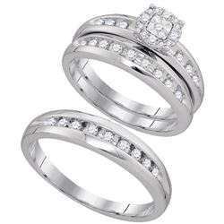 0.45 CTW His & Hers Diamond Cluster Matching Bridal Ring 10KT White Gold - REF-49M5H