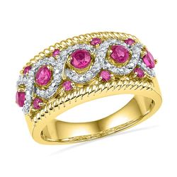 0.10 CTW Created Pink Sapphire Diamond Roped Ring 10KT Yellow Gold - REF-37K5W