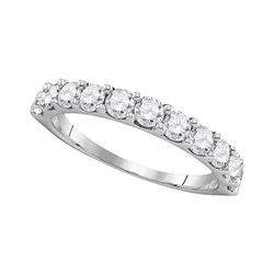 1 CTW Pave-set Diamond Wedding Ring 14KT White Gold - REF-89Y9X