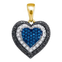 0.27 CTW Blue Color Diamond Layered Heart Pendant 10KT Yellow Gold - REF-22F4N