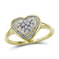 0.11 CTW Diamond Heart Ring 10KT Yellow Gold - REF-11N2F