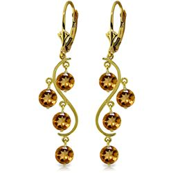 Genuine 4.95 ctw Citrine Earrings Jewelry 14KT Yellow Gold - REF-53K8V