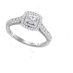 1 CTW Princess Diamond Solitaire Bridal Engagement Ring 14KT White Gold - REF-132X2Y