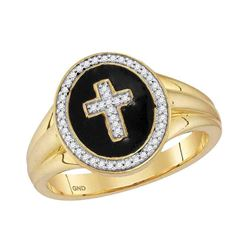 0.15 CTW Mens Diamond Cross Crucifix Fashion Ring 10KT Yellow Gold - REF-34H4M