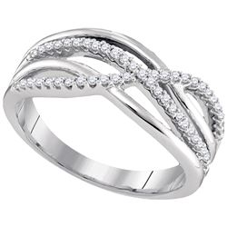 0.19 CTW Diamond Crossover Woven Ring 10KT White Gold - REF-30F2N