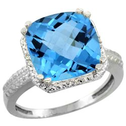 Natural 5.96 ctw Swiss-blue-topaz & Diamond Engagement Ring 10K White Gold - REF-32Y4X