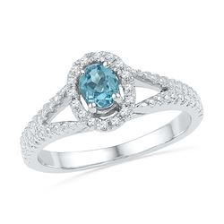 0.53 CTW Oval Created Blue Topaz Solitaire Diamond Ring 10KT White Gold - REF-18F2N
