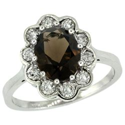 Natural 2.34 ctw Smoky-topaz & Diamond Engagement Ring 14K White Gold - REF-81A4V