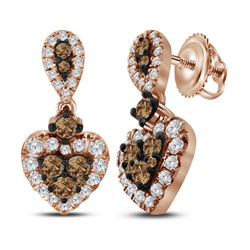 1 CTW Cognac-brown Color Diamond Heart Dangle Earrings 10KT Rose Gold - REF-82H4M